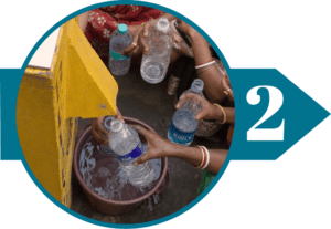 Group of women filling their water bottles with clean water from a BioSand Water Filter
